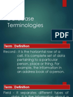 Database Terminologies