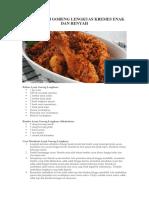 Resep Ayam Goreng Lengkuas Kremes Enak Dan Renyah