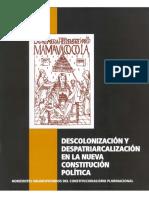Descolonizacion y Despatriarcalizacion en La Constitucion Politica Del Estado Plurinacional de Bolivia