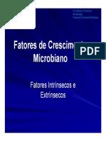 FatOreS extRinseCo e Intrinseco que afetam o crescimento microbiano
