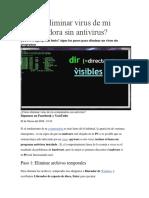 Cómo Eliminar Virus de Mi Computadora Sin Antivirus