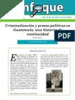 ENFOQUE No. 54 Criminalización y Presos Políticos en Guatemala Una Historia de Continuidad