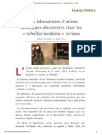 Deux laboratoires d'armes chimiques découverts chez les « rebelles modérés » syriens