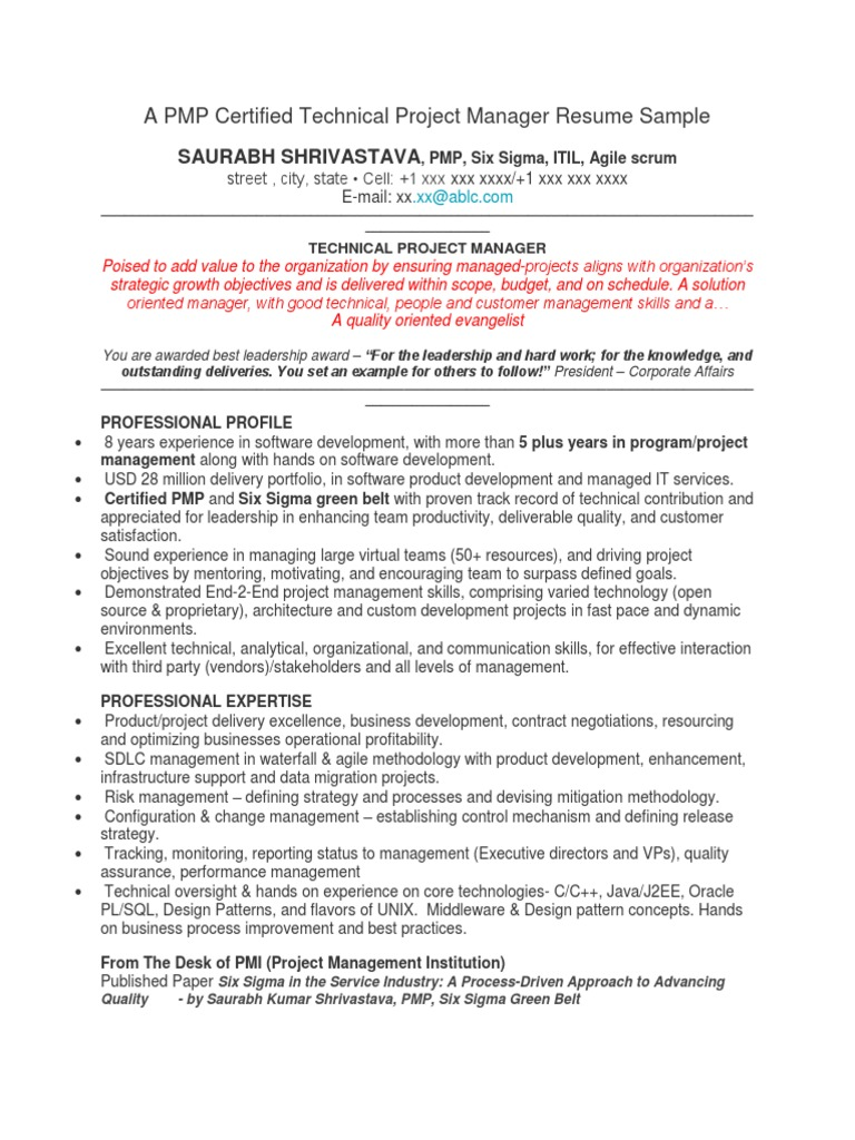 A pmp resume sample project management agile software development 1betcityfo Gallery