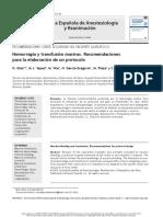 Hemorragia y Transfusión Masivas. Recomendaciones Para La Elaboración de Un Protocolo