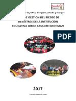 Plan de GESTIÓN DE RIESGO Y DESASTRES EN LA I.E. JORGE BASADRE 2017