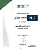 Certificate BTC General Business Program