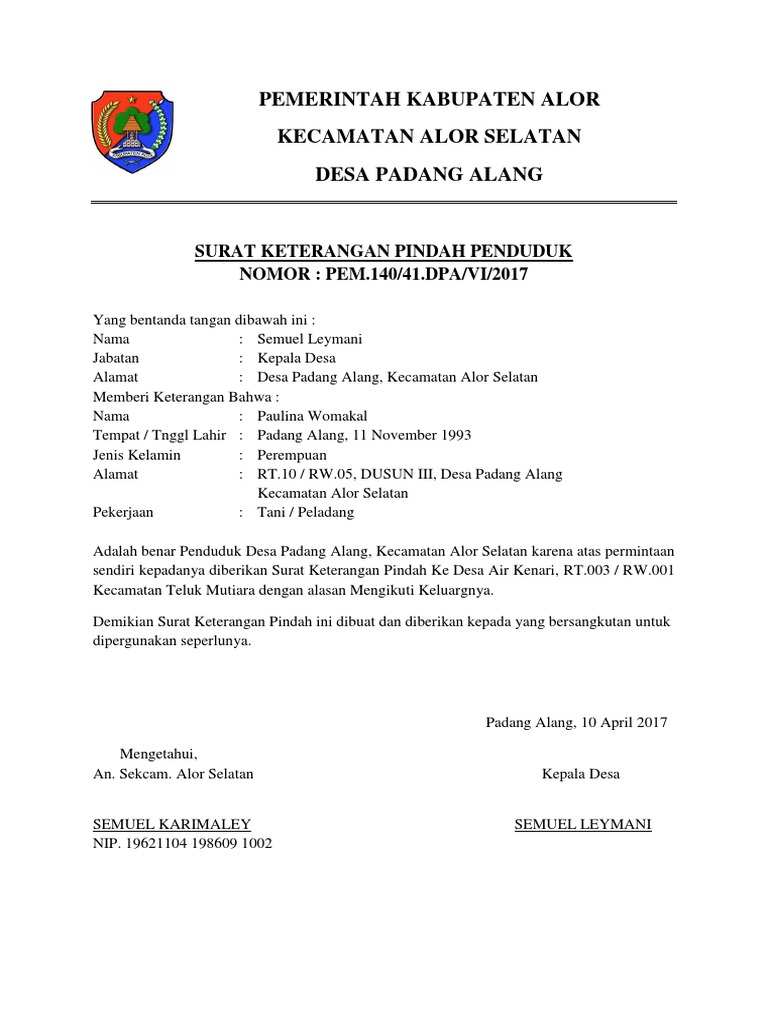 Contoh Surat Keterangan Pindah Domisili Dari Desa Nusagates