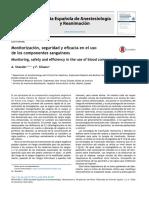 Monitorización, Seguridad y Eficacia en El Uso de Productos Sanguineos.