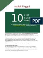 10 Ciri Sekolah Unggul