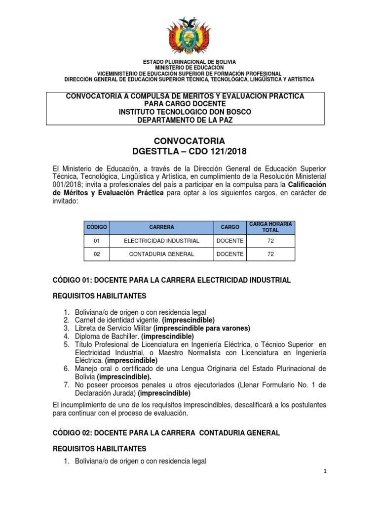 Cdo 121 La Paz c Inst Tecn Don Bosco