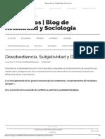 Desobediencia, Subjetividad y Democracia