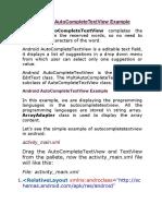 AutoCompleteTextView Example