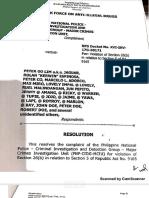 DOJ Decision Dismissing Peter Lim, Kerwin Espinosa, Et Al Drug Charges