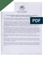 Communiqué du bureau de la présidente de la République
