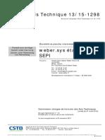 Avis Technique n°13-15-1298 weber étanchéité plancher intermerdiaire sous carrelage