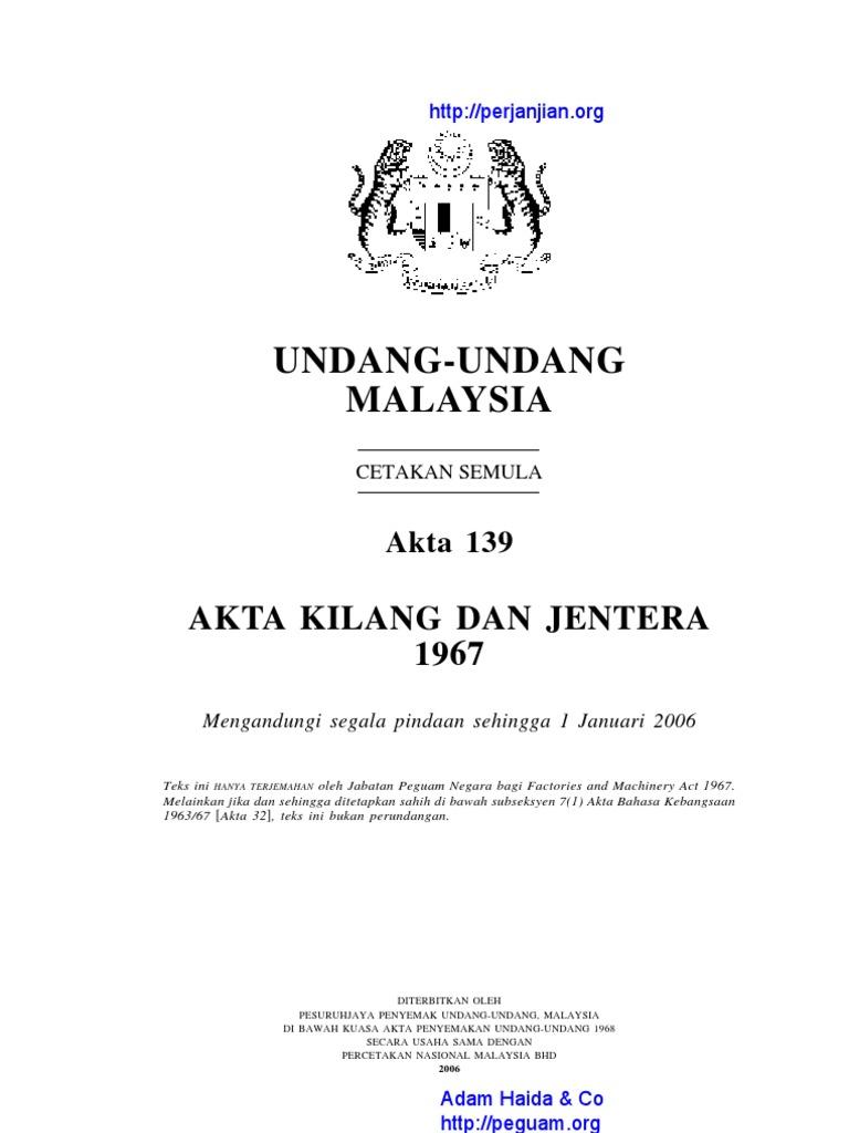 Akta 139 Akta Kilang Dan Jentera 1967