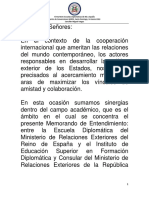 Discurso MV Memorandum Entendimiento INESDYC España 14 Marzo 2018