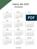 Calendario de Venezuela Del 2018 _ ¿Cuándo en El Mundo