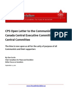 CPS Open Letter to the Communist Party of Canada Central Executive Committee and Central Committee