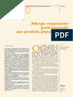 Allergie respiratoire aux produits phytosanitaire