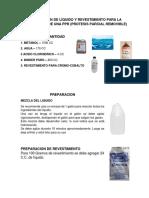 Preparacion de Líquido y Revestimiento Para La Elaboracion de Una Ppr