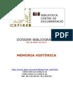 Dossier bibliogràfic. Memòria històrica.