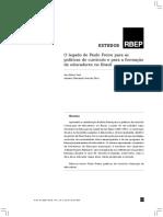 O Legado de Paulo Freire Para as Políticas de Currículo e Para a Formação de Educadores No Brasil
