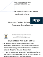 Apresentação Gênero Resenha de Filme Ou Crítica de Cinema
