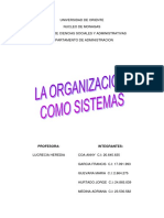 Trabajo de La Organizacion Como Sistema