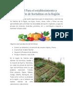 Manual Para El Establecimiento y Producción de Hortalizas en La Región