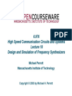 High Speed Communication Circuits and Systems Lecture 18 Design and Simulation of Frequency Synthesizers