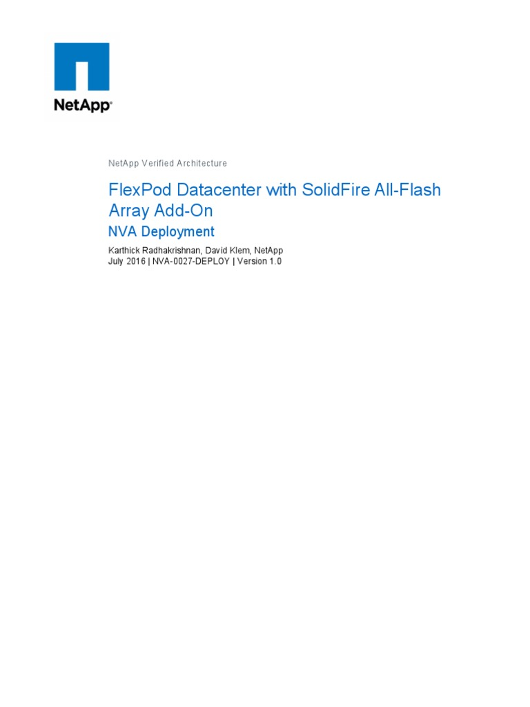 FlexPod Extension With SolidFire All-Flash Array | Data