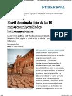 Brasil Domina La Lista de Las 10 Mejores Universidades Latinoamericanas