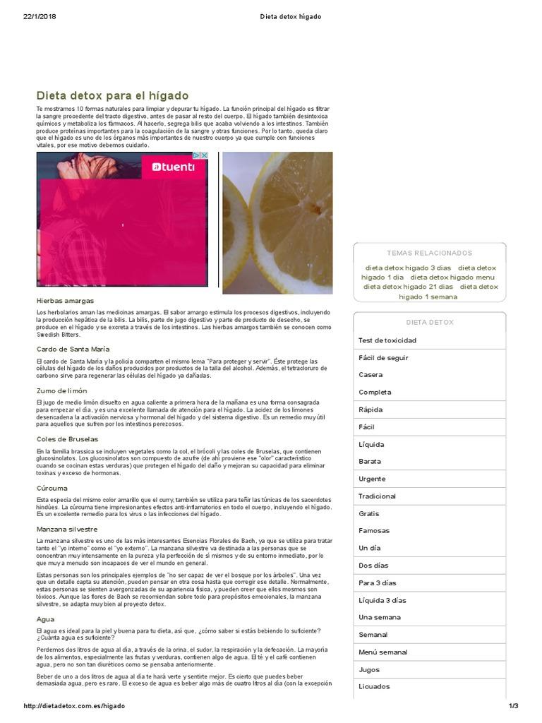 Dieta semanal para eliminar toxinas