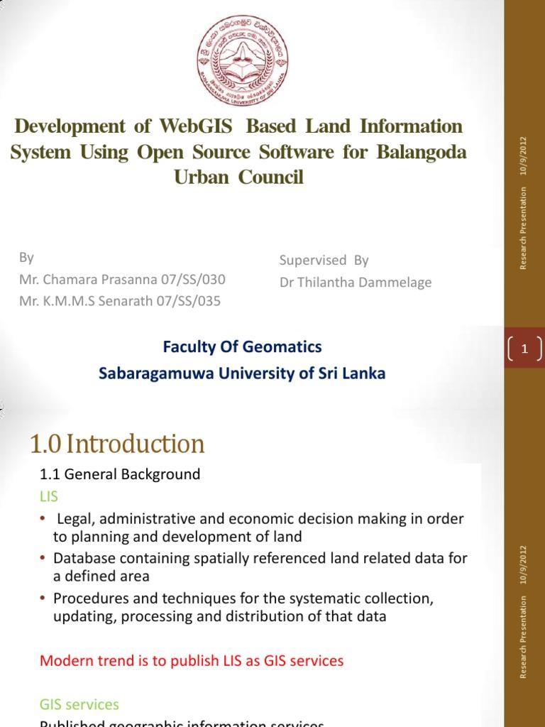 Development of WebGIS Based Land Information System Using