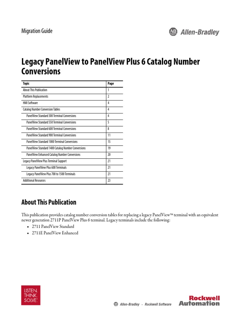 Migration Guide - Legacy PanelView to PanelView Plus 6 Catalog ...