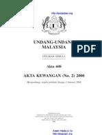 Akta 608 Akta Kewangan (No. 2) 2000