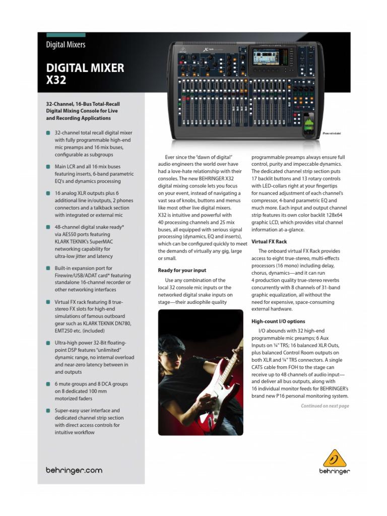 Beringer x 32 | Equalization (Audio) | Sound Technology