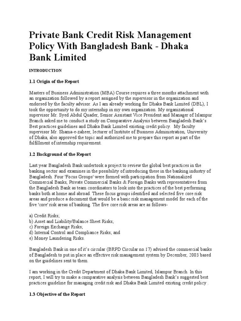 credit risk management in bangladesh janata Bangladesh bank has provided a guideline for credit risk management all banks  try to comply with that guideline jamuna bank is no exception of this practice.