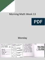morning math week 13