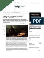 Il Mito Di Antigone Secondo Claudio Magris - Tempo Libero - Il Piccolo