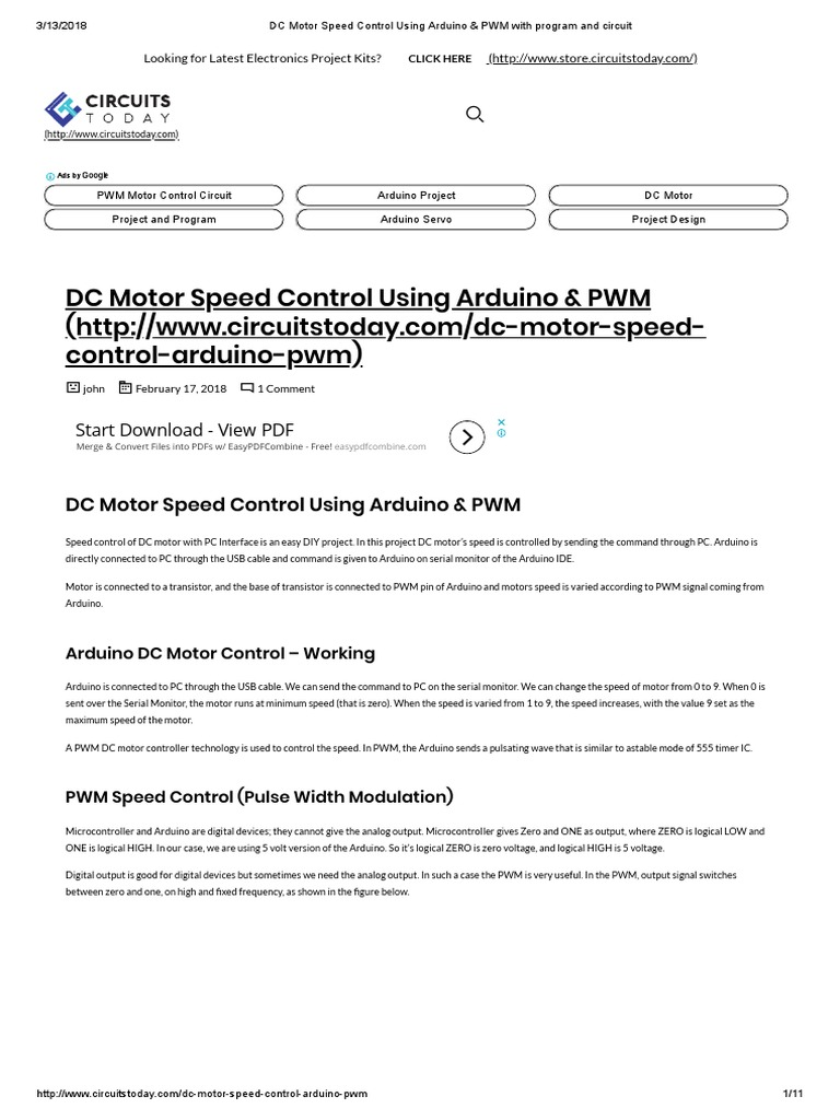 Dc Motor Speed Control Using Arduino Pwm With Program And Circuit Circuitpdf Electronic Circuits