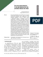 Acessibilidade Dos Deficientes Visuais e Cegos Às Informações de Bibliotecas Universitárias Na Web