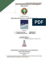 Kirloskar Electric Ltd. Internship Report