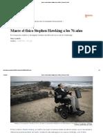Muere El Físico Stephen Hawking a Los 76 Años _ Ciencia _ EL PAÍS