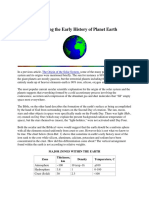 Concerning the Early History of Planet Earth