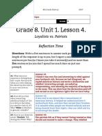 danielle sipes - unit 1  lesson 4 - 8th grade - reflection  loyalists vs patriots