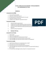Evaluación Del Curso de Actualización y Fortalecimiento en Comprensión Lectora