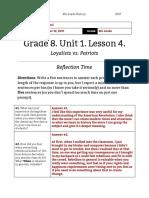 shira sobol - unit 1  lesson 4 - 8th grade - reflection  loyalists vs patriots